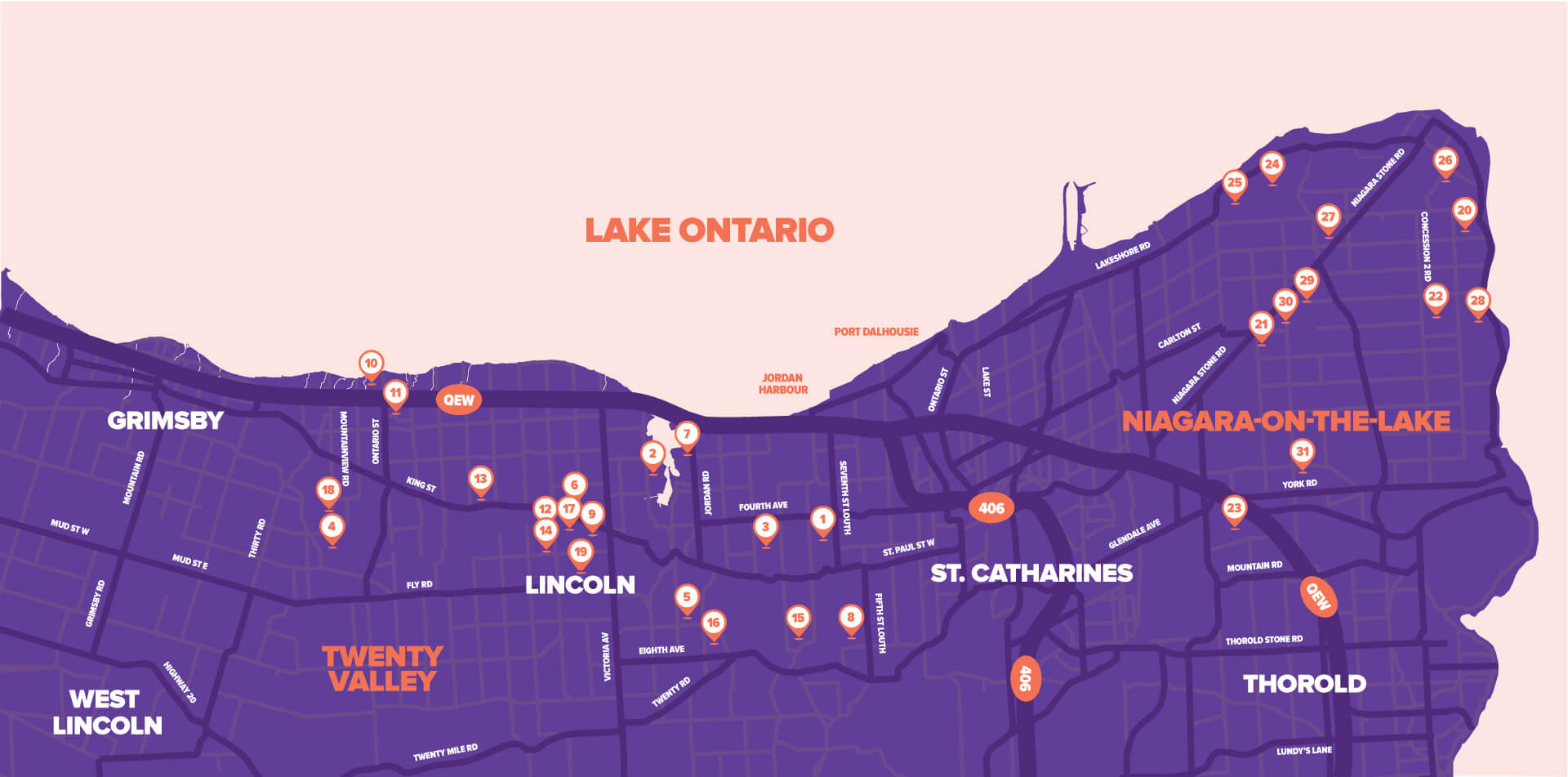Niagara Grape & Wine Festival - Discovery Pass Map